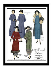 1920's Flapper Dresses and Coat Vintage Sewing Pattern - Downton Era