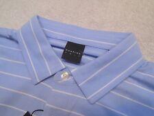 Dunning Golf Performance Fabric Dusk Blue Striped Polo Golf Shirt NWT Medium $89