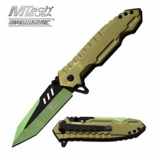 Spring Assisted Folding Pocket Knife Mtech Heavy Duty Green Tanto Blade Tactical