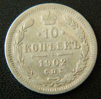 10 kopeks 1902 СПБ AP / SPB AR - Russian Empire Silver coin - Y# 20a.2 - #7138