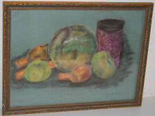 Antique Still Life Conte / Watercolor Painting Carrot Onion Apple