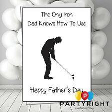 Joke Funny Rude Fathers Dad Day Card Golf Iron can be personalised