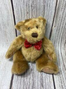 "Dakin 10"" Thomas Baby Plush Beanie Brown Stuffed Bear With Red Bow Tie"