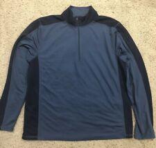 L.L. Bean Mens L Midweight 1/4 Zip Pullover Base Layer Shirt Blue Long Sleeve