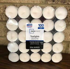 Tea Light CANDLES Bulk 100 Pack WHITE Unscented 3-5 Hours Burning Time TEALIGHTS