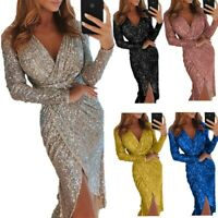 Women Long Sleeve Sexy Fashion Maxi Casual V-Neck Summer Bling Canonicals Dress