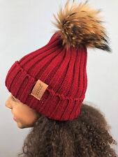 Women, Girls, Kids Real Fur Pom Hat Bobble Winter Beanie Warm Knitted Cap