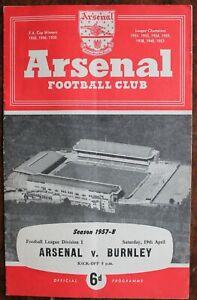 ARSENAL V BURNLEY PROGRAMME APRIL 1958