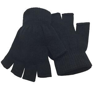 Women Winter Warm Knitted Fingerless Half Finger Magic Gloves Mittens Mens Black