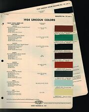 1954 LINCOLN Color Chip Paint Sample Brochure / Chart: DuPont