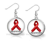 Red Ribbon Aids or Drug Prevention Awareness Dangle Earrings 20mm Round Setting