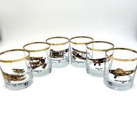 Set 6 AVIATION ROCKS GLASSES Gold Rims Airplane History Old Fashioned Barware