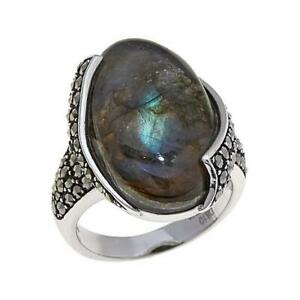 HSN Colleen Lopez  Labradorite & Marcasite Sterling Silver Ring Size 7