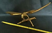 "Very Large Heavy Solid Brass Bird of Prey Bird Eagle On Tree 19"" 47cms Wingspan"