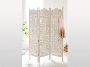 MADE TO ORDER Jali Hand Carved Indian 3 Panel Screen White Screen Room Divider