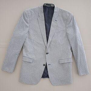 Tommy Hilfiger Mens Blazer Sport Coat Blue White Plaid Check Cotton Size 46 L