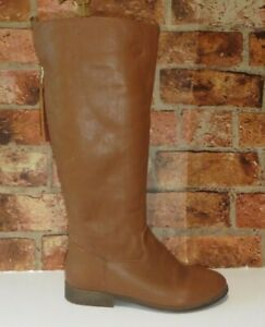 OFFICE TAN LEATHER BACK ZIP TALL BOOTS SIZE 38  UK 5
