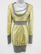 BNWT Fuse by Preen Gold Sequin Embellished Evening Occasion Dress Size 10 NEW
