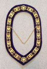 Scottish Rite Chain Collar in Gold (Wings Down) - Purple Velvet Backing