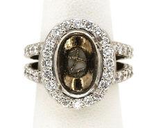 Diamond Semi Mount For An Oval Stone 14 K White Gold Ring