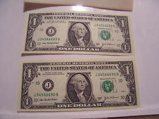 CONSECUTIVE SERIAL NUMBERS 2003A 2 ONE DOLLAR FEDERAL RESERVE NOTES J04566689-0B