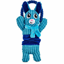 """Time for Joy MINTY BLUE BUNNY Rope Dog Toy Plush Hanukkah Squeaker Stretchy 13"""""""