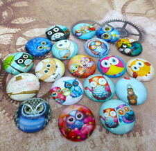 10 pcs  Glass Round Owl cabochon, Birds cabochons, mix pattern, size 25 mm