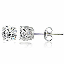 Sterling Silver Created White Sapphire Crown Stud Earrings