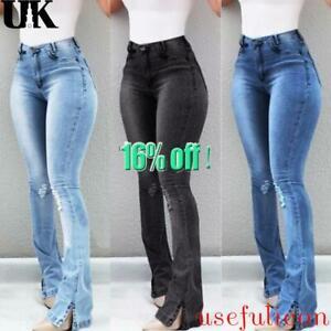 Womens Skinny Flare Denim Jeans Retro Bell Bottom Stretch Pants Trousers UK 6-20
