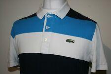 Lacoste Navy Blue/Azure/White Block Striped Polo Shirt Size 5 / M Rare Mod Top
