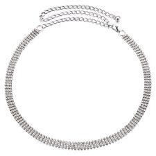 4 ROW DONNA STRASS BRILLANTINI VITA catena pendente Cintura in Argento Diamante