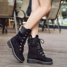 Ladies Ankle Boots Lace up Block Heels Fur Trim Combat Shoes Autumn Size Fashion