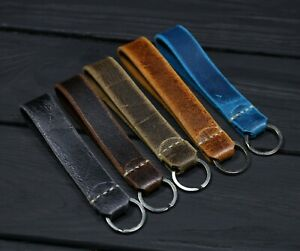 Leather Key chain Vintage Handmade, stainless steel ring, British luxury leather