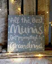ALL THE BEST MUM'S GET PROMOTED TO GRANDMA GREY STARS MUM PLAQUE SIGN GIFT G034