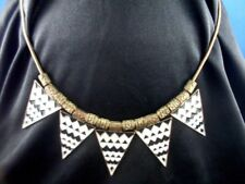 Retro 1980's Abstract TRIBAL ENAMEL TRIANGLES on Brass type Snake Chain Necklace
