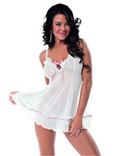Sexy White and Pink Sweet Dreams Swiss Dot Lace Chemise & Matching G-String!