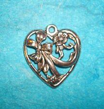 Pendant Heart Charm Flowers Charm Wedding Charm Filigree Heart Charm Love Charm