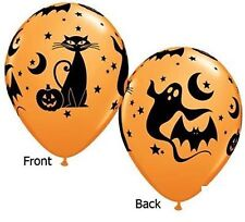 Halloween Party Supplies - Balloon - Black Spooky Icons On Orange 2 for $1.50