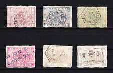 Belgique  lot de 6  timbres  pour colis postaux   de 1879  oblitérés