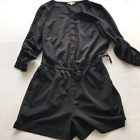 LOFT Black Roll Tab Sleeve Tie Waist Romper Size 6 A608