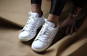 NWT~ Women's Size 11 Adidas Stan Smith CutOut White Leather Sneaker Men's 10