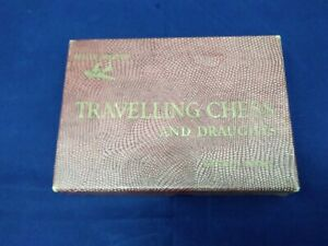 Vintage House Martin TRAVELLING CHESS AND DRAUGHTS SET original red box