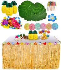 119 Pieces Hawaiian Luau Grass Table Skirt Set Palm Leaves Hawaiian Flower Party