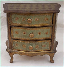 Vintage Doll House Italian Florentine Chest of 3 Drawers Gilt on Green