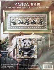 Panda Row Cross Stitch Kit Design Works 14 count Joan Elliott 9''x22'' #9956