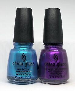 China Glaze Nail Polish BEAUTY & THE BEACH 563 + COCONUT KISS 567 Turquoise Purp