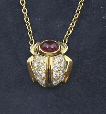 Vintage Van Cleef & Arpels 18k Gold Ruby & Diamond Beetle Necklace Pendant