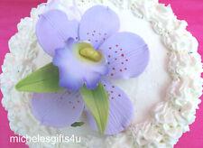 "Gum Paste Sugar Lavender Orchid 3 Leaves, Cake Decorating Flowers 3"" x 4"""