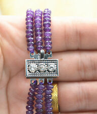 Natural 3 Rows 2x4mm Faceted Amethyst Beads Necklace AAA