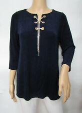 Chico's Travelers Dark Blue 3/4 Sleeve Lace Up Chain Detail Top Size 2